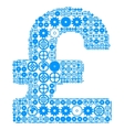 British pound sign made of gears vector image