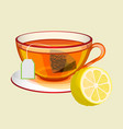 cup on saucer with tea bag water and fresh lemon vector image