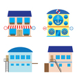 Facade of shop sea food store and warehouses vector image
