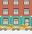 Flat Design Yellow Taxi vector image
