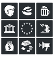 Germany and the European Union Icons set vector image