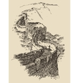 Great Wall of China Vintage Engraved vector image