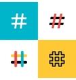 Hashtags icon set Flat style vector image