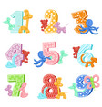 inflatable animals with birthday numbers vector image