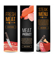 meat product vertical promo banners for vector image