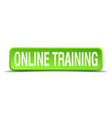 online training green 3d realistic square vector image