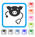 pig veterinary framed icon vector image