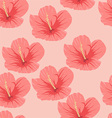 Seamless pattern of tropical pink hibiscus flowers vector image