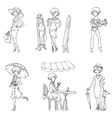 Set of Fashion Girls vector image