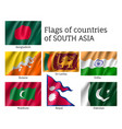 set of flags of south asia vector image