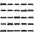 train silhouettes set black icon on white vector image
