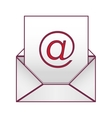 Envelope with mailing sheet and at sign vector image