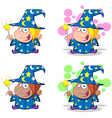 Wizard Girl Waving With Magic Wand Collection vector image vector image