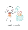 credit counselor near a bundle of money and the vector image vector image