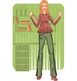 Business woman with folders near desk vector image vector image