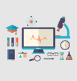 set flat icon of objects chemical laboratory - vector image vector image