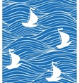 blue background with white boats and waves vector image