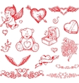 valentines day hand drawn elements vector image vector image