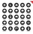 Weather forecasting icons on white background vector image