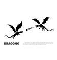 black silhouette of dragons on white background vector image