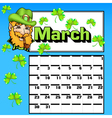 calendar for March St Patricks Day vector image