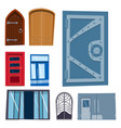 color door front to house and building flat design vector image