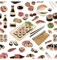 Colored Sushi and rolls seamless pattern vector image