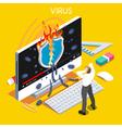 Computer Virus Isometric People vector image