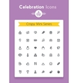 line celebration and party tiny icon set vector image