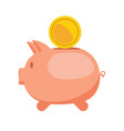 piggy bank and gold coin flat vector image