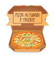 the real pizza ai funghi e salsicce pizza with vector image