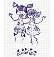 two pretty girls jump for joy vector image
