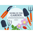 Set of garden tools and plants on a light vector image