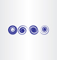 blue spiral water waves icon set vector image