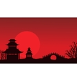 Silhouette of pavilion and bridge Chinese theme vector image