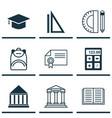 set of 9 school icons includes graduation vector image