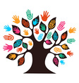 Isolated diversity tree hands vector image vector image