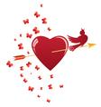 heart bird and arrow vector image vector image