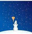 Cartoon Snowman with Broom vector image