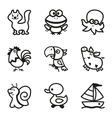 Easy Coloring drawings of animals icon set vector image