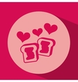 heart red cartoon cookie jam icon design vector image
