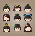 japanese kokeshi dolls heads icons vector image