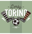 Torino Derby In Italian Label Design Soccer Boots vector image
