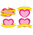 valentine day themed colorful stickers hearts and vector image