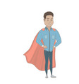 young hispanic businessman dressed as a superhero vector image