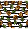 Pineapple seamless pattern on strips background vector image