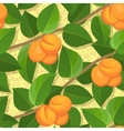 seamless peach on branches background pattern vector image