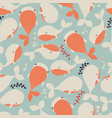seamless pattern with underwater ocean animals vector image vector image