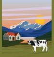 colorful summer morning landscape background vector image