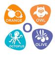 Cute alphabet in o letter for orange owl vector image